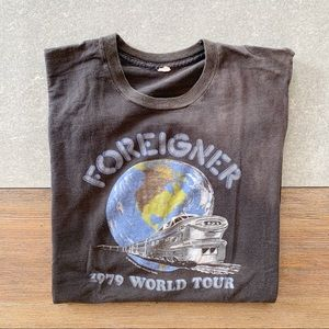 VINTAGE Foreigner 1979 World Tour Band Tee size S